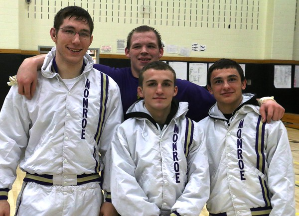 Monroe Wrestlers Win District Tournament Finals Photos of all matches,, Feb 21, 2015, 4 champs, Muce, Profaci, Goff and Dressel.